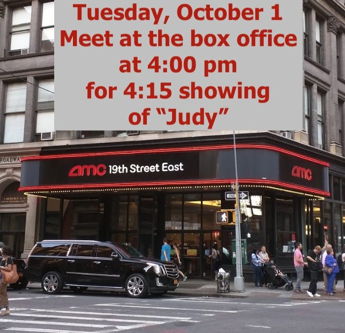 "Last Minute Movie! ""Judy"" at AMC Lowes 19th Street East at Broadway. Take advantage of $6 Discount Tuesday."